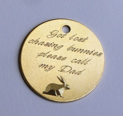 30MM BRASS PERSONALISED DOG TAG GOT LOST CHASING BUNNIES YOUR DETAILS ON BACK